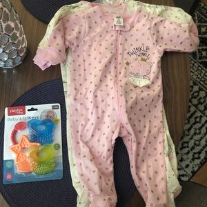 Baby Girl Three Piece Pajama Set and Teethers